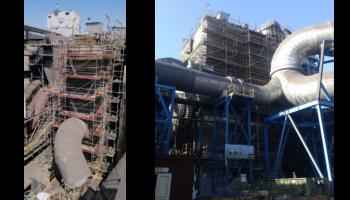 Trabajos de andamios y aislamiento en electrofiltro en la factoría de Atlantic Copper en Huelva